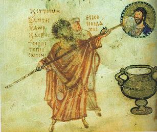 的兵丁正在羞辱在十字架上耶稣的身体.这幅画的作者表明:「那些